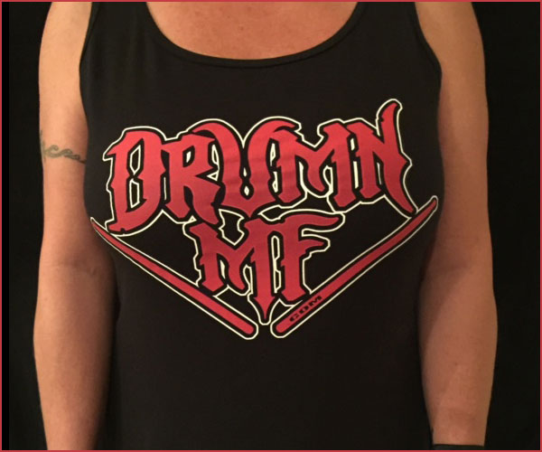 DRUMNMF TANK TOP WOMEN'S BLACK WITH RED LOGO