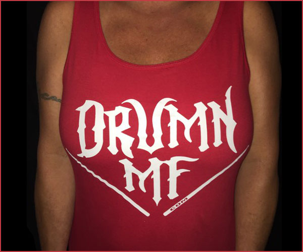 DRUMNMF TANK TOP WOMEN'S RED WITH WHITE LOGO
